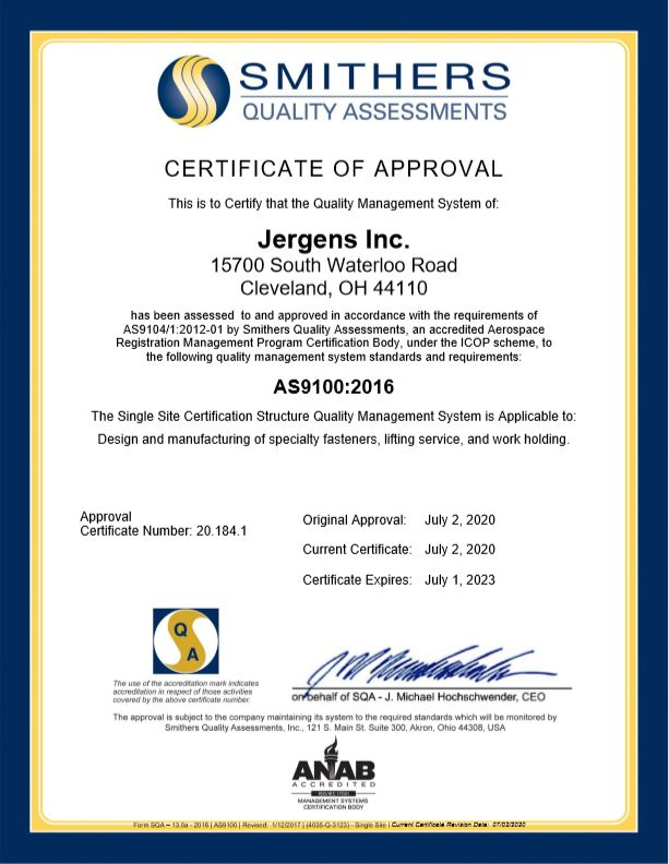 AS9100 Certification Document